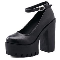 casual high-heeled thick heels platform pumps  shoes Black and White - black / 8