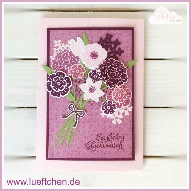 Beautiful Bouquet, Blüten des Augenblicks, Petal Garden DSP, Blumengarten, Glückwunsch Karte, Stampin Up! Blog Hop, Achivers Blog Hop, Lüftchen