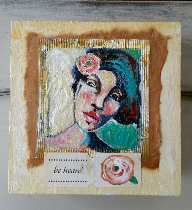 "Tea bag portrait painting, ""Be Heard"" created by Victoria Gilpin"