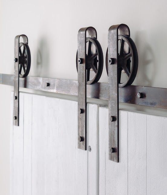 This is a beautiful 5-8 foot rustic steel sliding barn door hardware set. Made in the USA from high quality steel. (Lifetime warranty) Includes: (1) Track (2) Rollers (4) Wall Spacers (2) Door Stops (1) Floor Guide Measures approximately 9 1/2″ from the bottom of the track to the top of the bracket. Max door …
