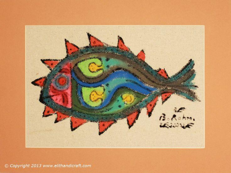 Original Bedri Rahmi Eyuboglu Pattern Block Print Hand Painting 41 x 32 cm