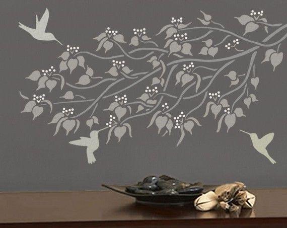 STENCIL per pareti - ramo LINDEN - parete STENCIL - riutilizzabile, Easy Wall Decor/Home Decor
