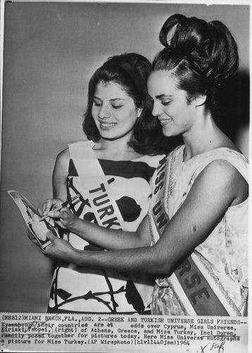 1964 Kiriaki Tsopei Miss Universe Inci Duran Miss Turkey