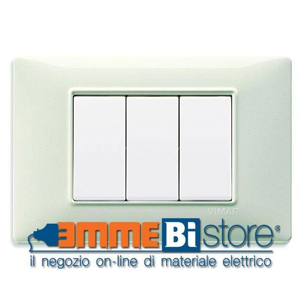 #Placca #tecnopolimero 3 moduli bianco granito #Vimar #Plana Comprala a meno di 2 euro su emmebistore