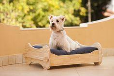 Cama para cachorro fabricada em madeira de pinus reflorestada, material ecologicamente correto característico pela qualidade, durabilidade e resistência