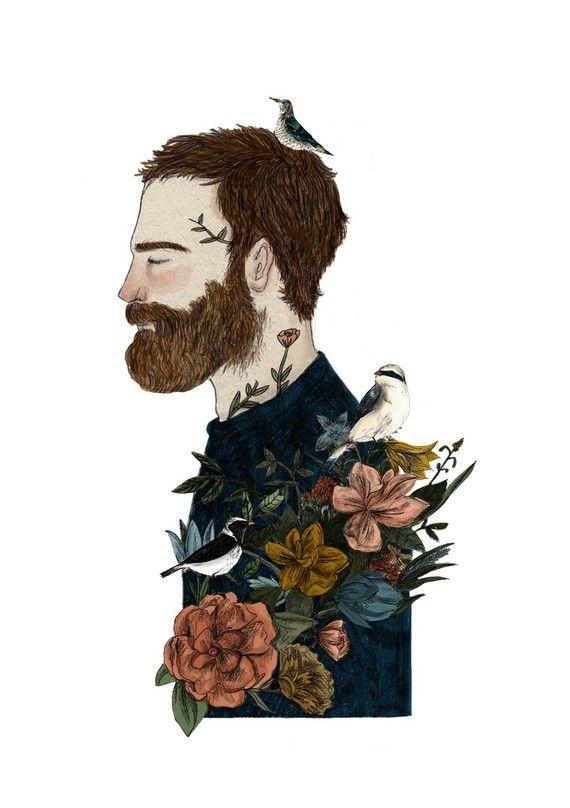 ilustração masculina , pássaros e flores
