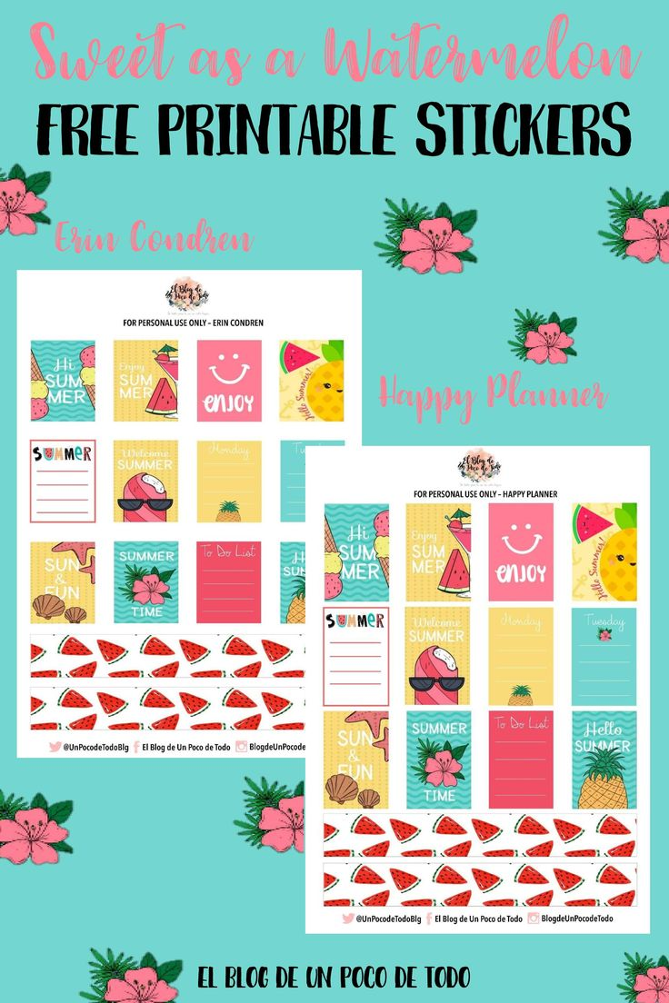There's a new post on the blog! Download these free printable stickers and enjoy organizing your planners & binders! #Pinterest #PinofTheDay #Pin #Stickers #Printables #Freebie #FreePrintables #Watermelon #Summer #HappyPlanner #ErinCondren