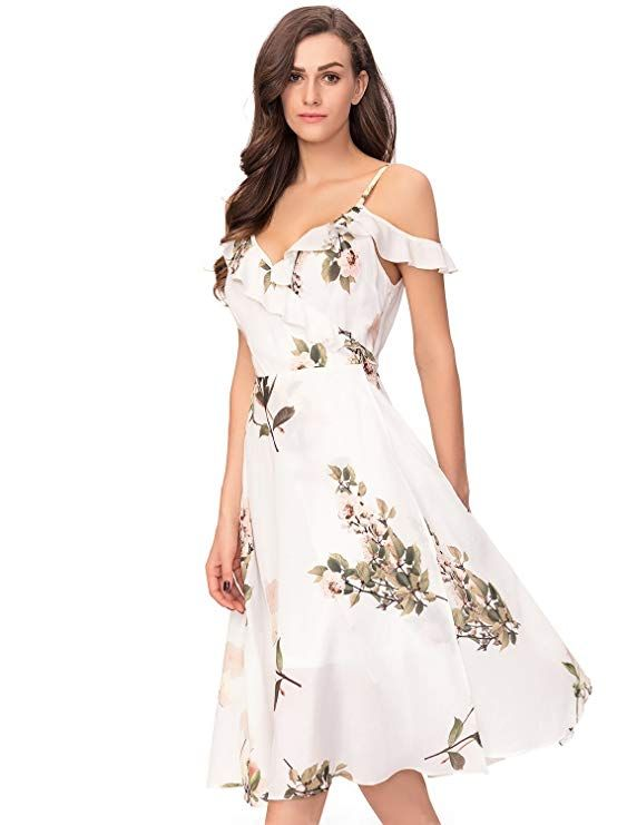 39581a53 Noctflos Women's White Floral Chiffon Summer Cold Shoulder Dress Fabric:  100% Polyster. Lining: 100% Polyester. Sexy V-neck, mid-calf length, ...