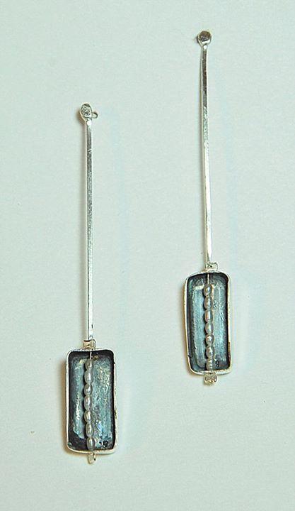 #Geometric #Elegance // #oxidised #silver ~ #pearls // #earrings