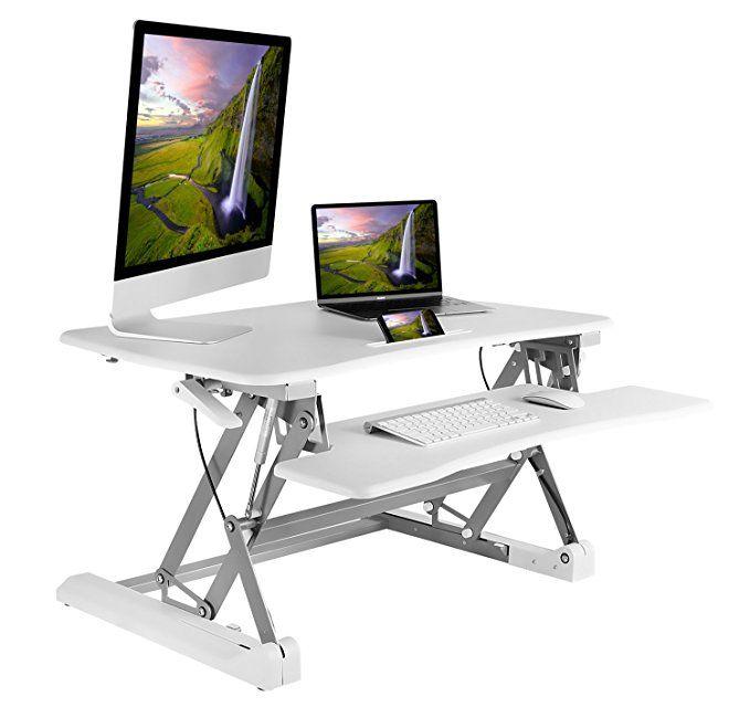 White Standing Desk Converter 35 Inch Height Adjustable Standing Desktop Wit Standing Desk Converter Adjustable Standing Desk Adjustable Height Standing Desk