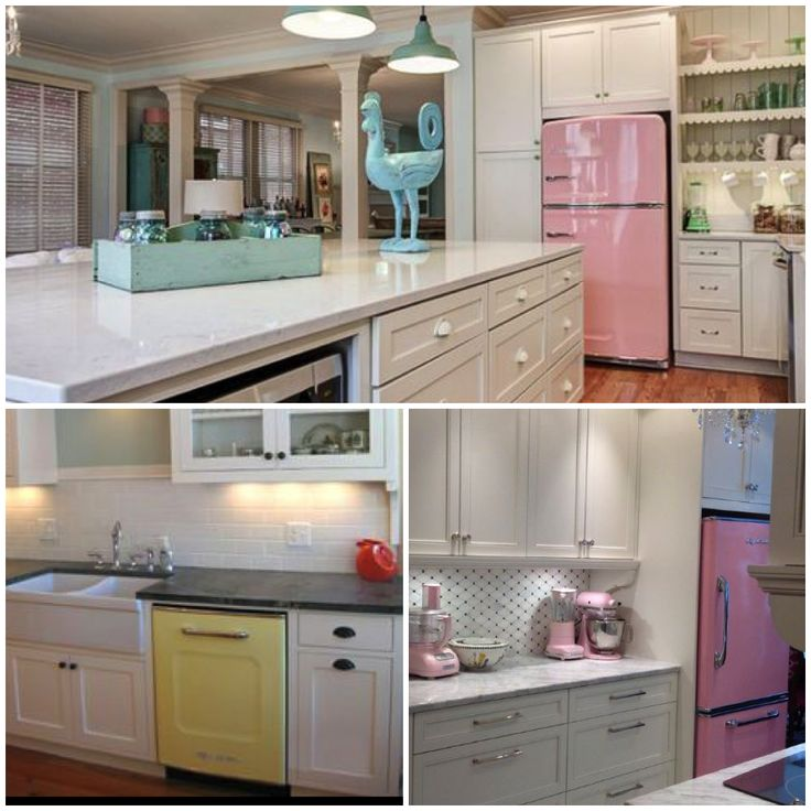 chill appliances retro kitchens white kitchens big chill pink yellow