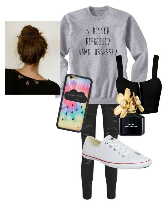 """""""Untitled #39"""" by estherlillymae ❤ liked on Polyvore featuring Current/Elliott, Converse, Wildflower, Marc Jacobs and ferm LIVING"""