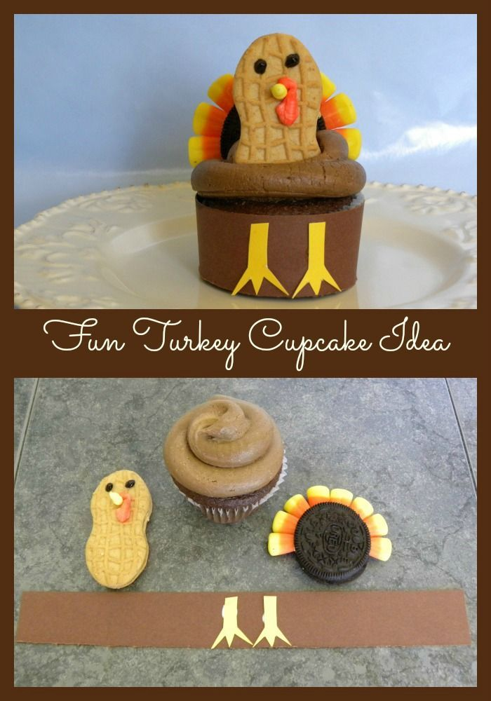 Fun Turkey Cupcake Idea with Oreos, Nutter Butters and candy corn! Perfect for the kids at the Thanksgiving table.
