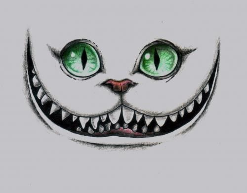Drawings | Megan Sewell Alice in Wonderland, theCheshire Cat Grin Colored Pencil, Ink