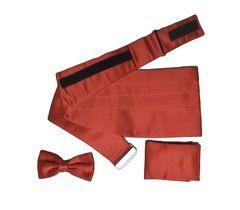 Камербанд (кушак, пояс) Lorendi Capri для смокинга бабочка платок красный