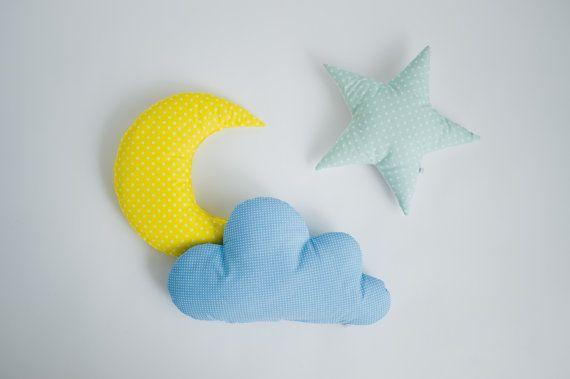 Pillow set Cloud Star Moon shaped pillow - mint yellow blue nursery room decor