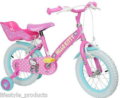 "Hello kitty 14"" girls bike, stabilisers, #chainguard, #doll's #seat, pink new ,  View more on the LINK: 	http://www.zeppy.io/product/gb/2/112004152486/"