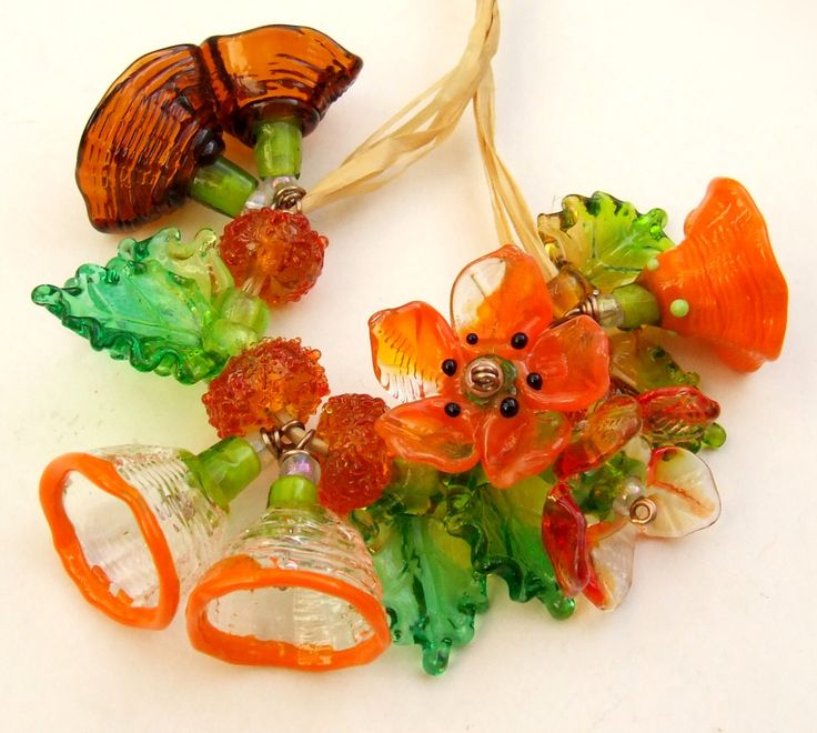 Lampwork Glass Flower Beads for Jewelry Making, A Romantic Bouquet, Set of 19 Orange, Brown, Amber and Green Made to Order by silviaizkovich on Etsy https://www.etsy.com/listing/172769831/lampwork-glass-flower-beads-for-jewelry