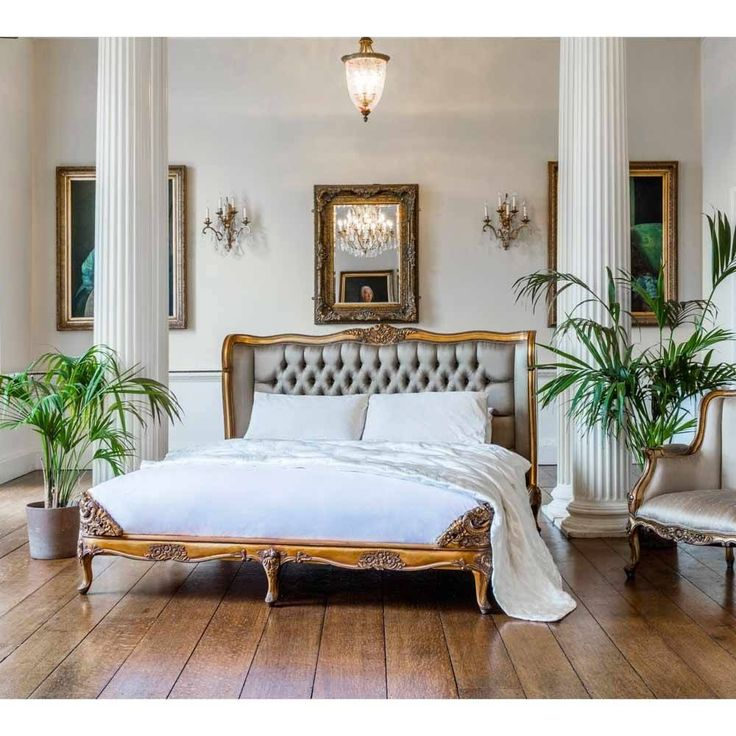 Versailles Luxury Upholstered Gold Bed | Upholstered Bed