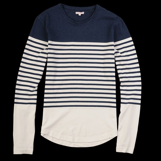 Orlebar Brown - Jacob long sleeve tee in denim and white