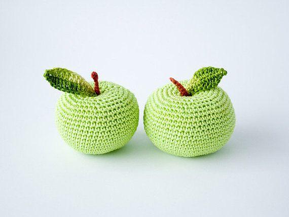 Crochet apple (1 pc) - teacher gift, fun kid toy, kitchen decoration, pincushion - eco friendly toys by FrejaToys