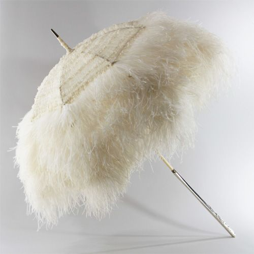 Bridal wedding parasol, ostrich feathers over a canopy of silk organza, long cream lacquered wood shaft with an Art Nouveau-style sterling silver handle ~ created by Michel Heurtault