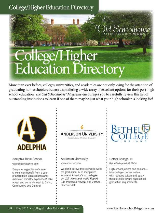 64 best directories images on pinterest homeschool collegehigher education directory the homeschool magazine may 2013 page 88 89 fandeluxe Image collections