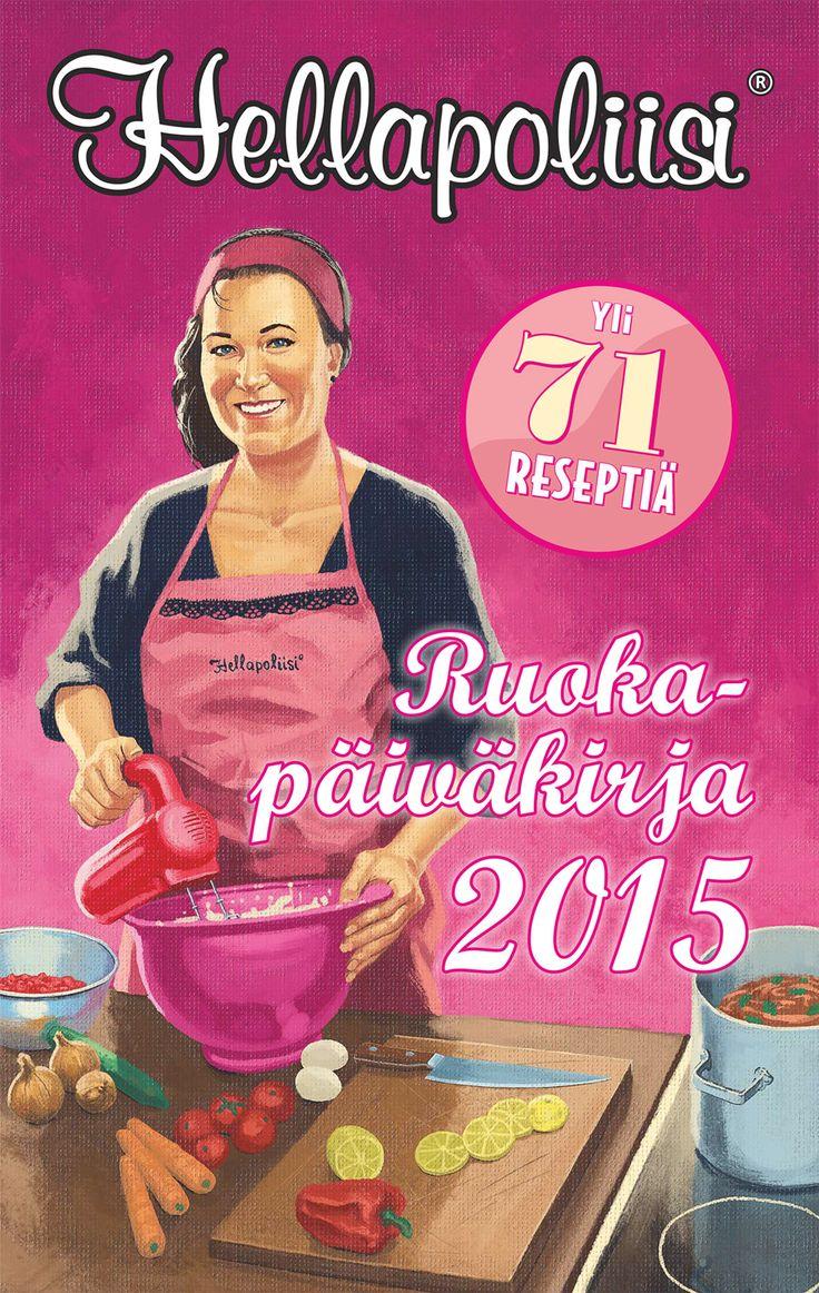 Hellapoliisin ruokapäivyri on suunniteltu alkaen syyskuusta 2014 aina vuoden 2015 loppuun. 280 sivuisen ruokapäivyrin aukeamalta näet viikon kerrallaan. Jokaisen päivän kohdalle on annettu ruokaehdotus, jossa huomioidaan sesongit ja juhlapyhät. Reseptin kyseiseen ruokalajiin löydät Hellapoliisi-sivustolta. Jokaiselle viikolle tarjoillaan myös yksi makea leivonnais- tai jälkiruokaresepti. Ruokapäivyriin voit nimestä huolimatta kirjoittaa omat ja perheesi menot kuten mihin tahansa kalenteriin.