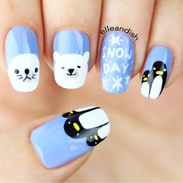 WEBSTA @ elleandish -  NEW VIDEO! ❄️Arctic and Antarctic Animal Nail Art!  I've been wanting to do a polar bear/seal tutorial but I had to add penguins in there too :) This is a freehand nail tutorial! <To watch, click on the link in my IG bio!>