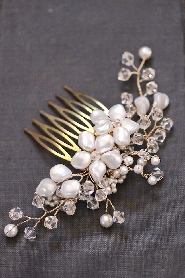 TABITHA wedding headpieces, pretty floral pearl comb by @Percy Handmade