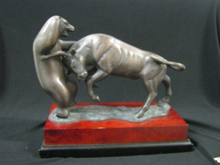 Bey-Berk Wall Street Market Bull Bear Sculpture Fight Metal Bronze Finish Layer