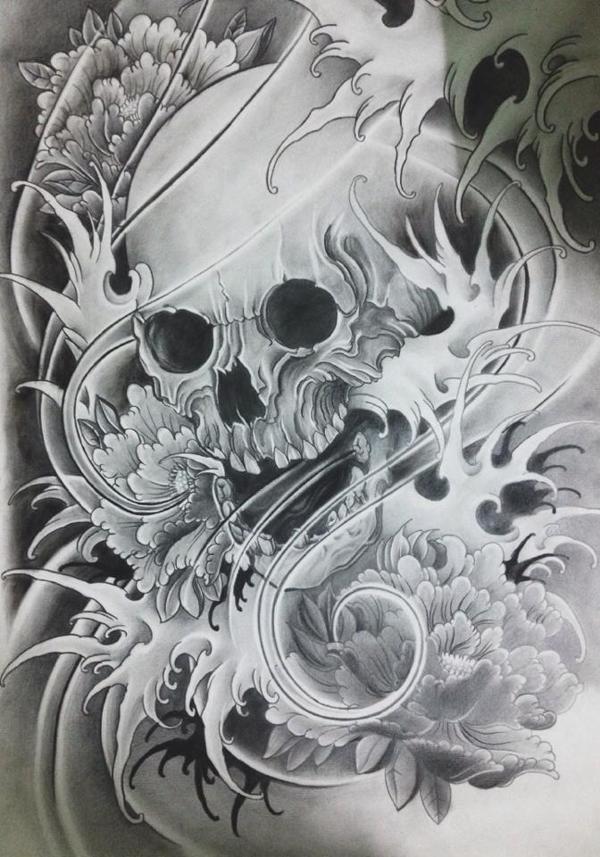 Japanese skull by Eric Than, via Behance #cultural #tattoo #tattoos