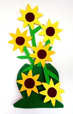 Bastelideen/basteln-Vase-Papier-Sonnenblumen
