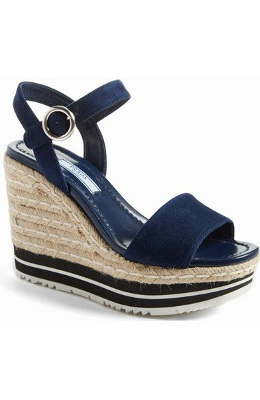 Prada Nautical Espadrille Wedge (Women) available at #Nordstrom