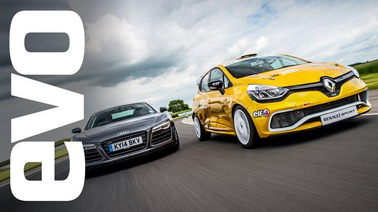 #Audi #R8 Plus vs #Renault #Clio Cup Racecar [evo Track Battle]
