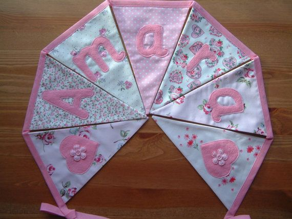 Personalised banner name bunting. Baby girl. by patchworkpawprint