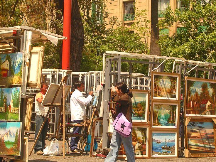 los pintores de la plaza de armas en santiago de chile