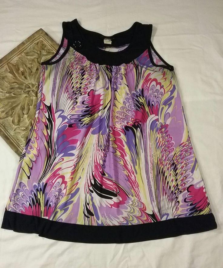 Jennifer Lauren Womans Top Sleeveless Multi-Color Shirt Button Black Blouse Sz L #JenniferLauren #KnitTop #Casual