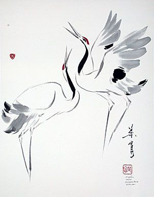 "Ning Yeh. ""Courtship Dance"" Dancing cranes symbolizing the sheer ectasy of the dance of courtship http://www.ningyeh.com/gallery/2cranes.php:"