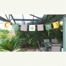 Spiritual Bunting - Mystic Nature. Bunting is displayed for its symbolic, spiritual or attractive qualities. Bunting can be part of the décor in bedrooms or lounge rooms, used outdoors for parties, or be displayed in a garden or undercover area. The flags represent that natural and spiritual world. $32.00au. Made in Australia.