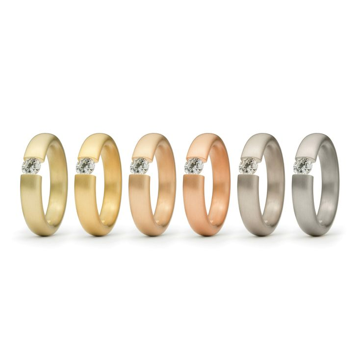 www.ORRO.co.uk - Niessing - Tension Ring - Oval Multi Colour Engagement Rings - ORRO Jewellery Glasgow