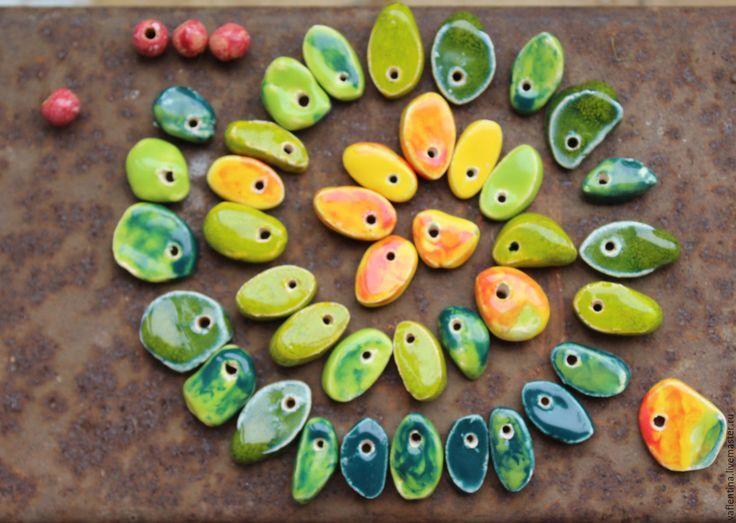 """Купить бусины """"В осень"""" маленькие - бусины для украшений, керамические бусы, керамические бусины"""