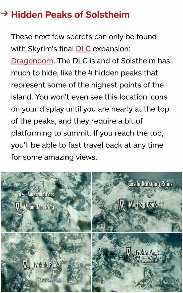 Skyrim secrets: The four hidden peaks of Solstheim
