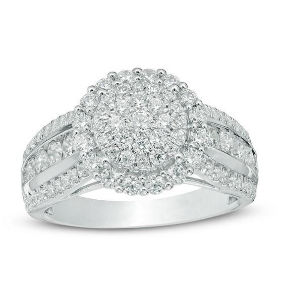 9402bbc10eff T.w. Composite Diamond Frame Engagement Ring in 14K White Gold - AdoreWe.com