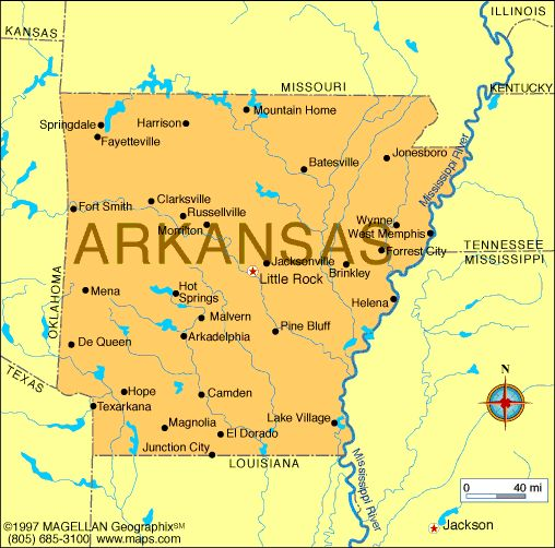 Map of Arkansas which entered the union on June 15, 1836 and was the 25th state to enter.  The capital is Little Rock.