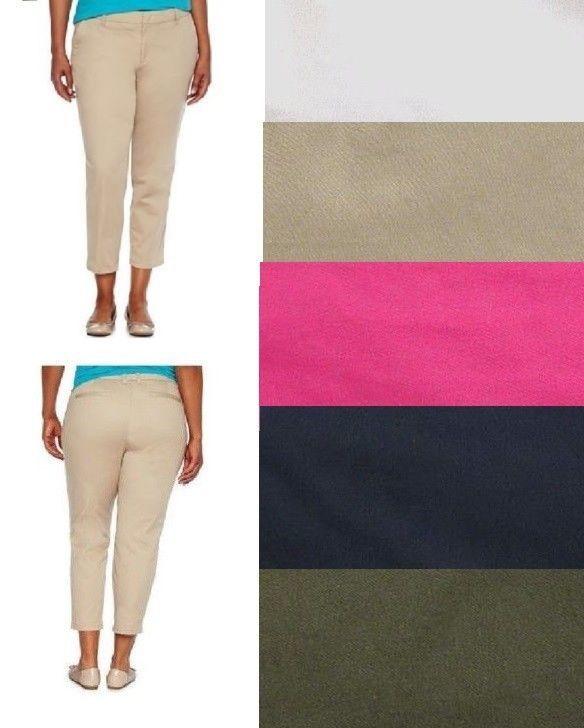 ecb04c401 jcp Womens Capri Pants Solid Cotton Spades Petites size 4P 6P 8P 14P NEW