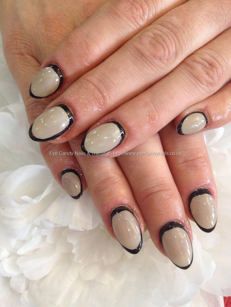 Nude Gel Polish With Black Nail Art On Almond Acrylic -5404