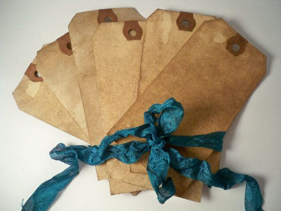 100 LARGE Hang Tag Gift Tag. Vintage Wedding. Invitation. Save The Date. Price Tag. Shabby. Chic. Stained. Distressed. Blank. Rustic. DARK.