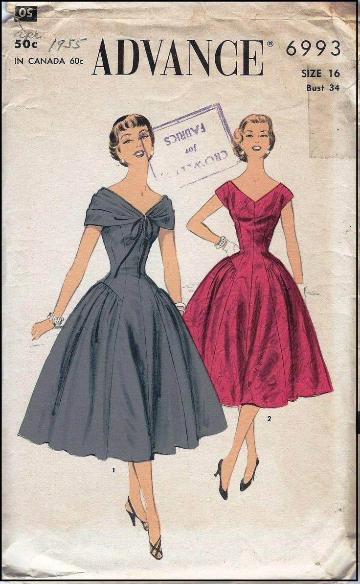 328 best vintage patterns images on pinterest fashion vintage 1955 ladies dress sewing pattern advance 6993 jeuxipadfo Choice Image