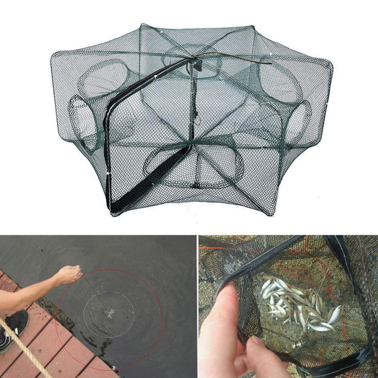 Foldable Crab Net Trap Cast Dip Cage Fishing Bait Fish Minnow Crawfish Shrimp TO